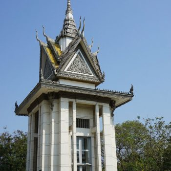 Buddhist stupa filled with skulls at Killing Fields, Cambodia