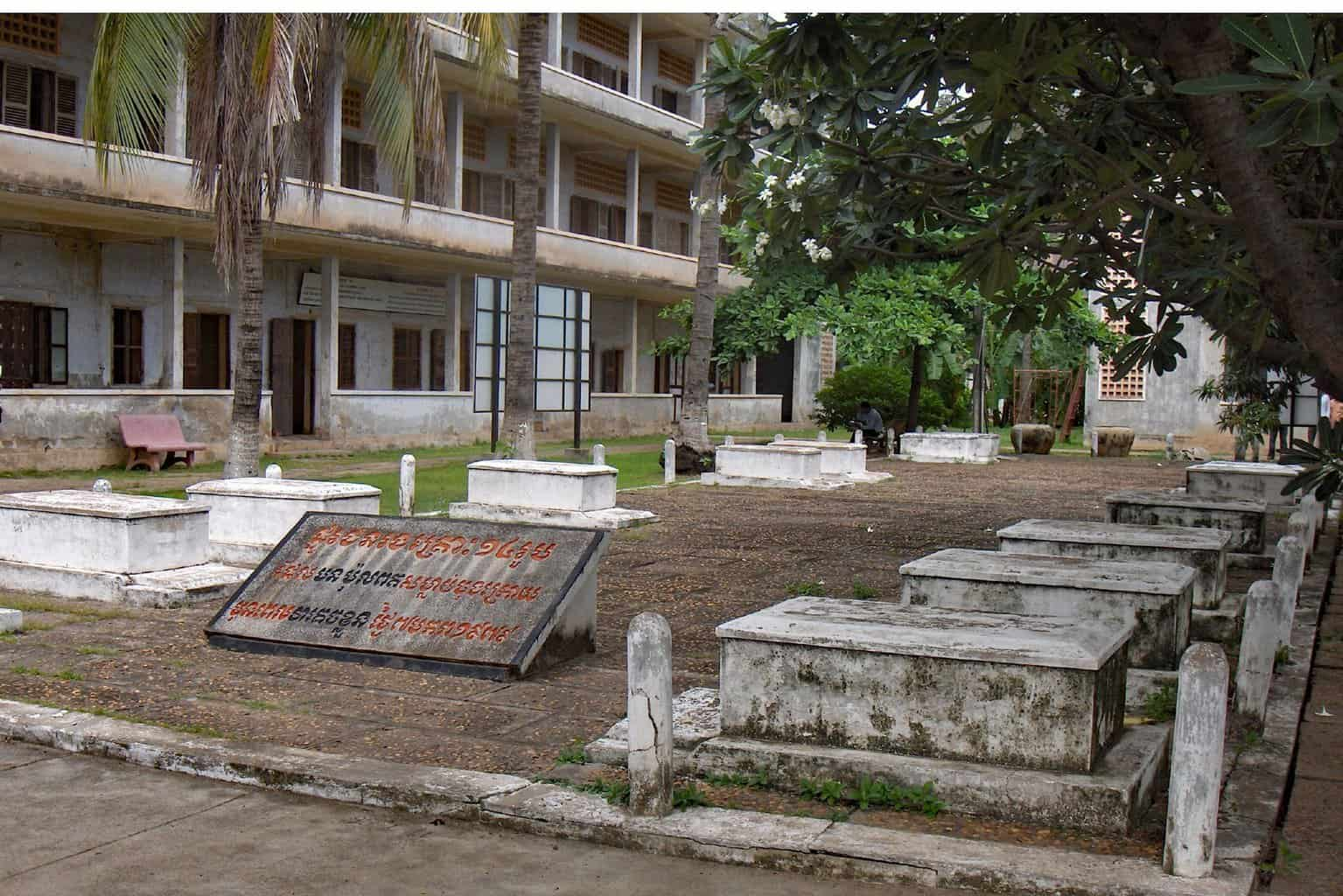 14 Graves in Courtyard of Tuol Sleng Museum, Cambodia