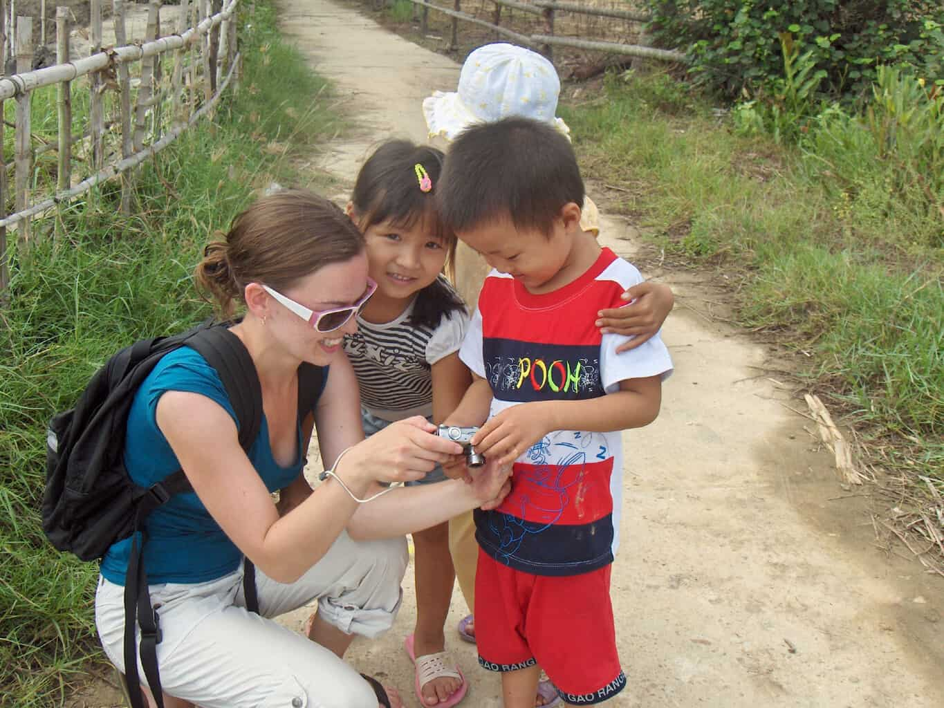 Meeting kids on a bike ride near Hoi An, Vietnam