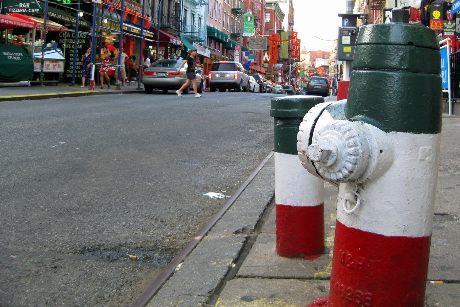 Italian colors on fire hydrants in Little Italy, Manhattan NYC
