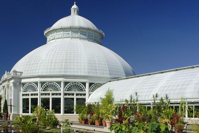 Landmark glasshouse at New York Botanical Garden in The Bronx