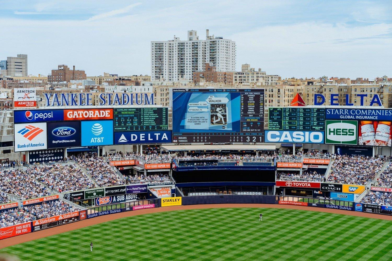Watching the game at Yankee Stadium