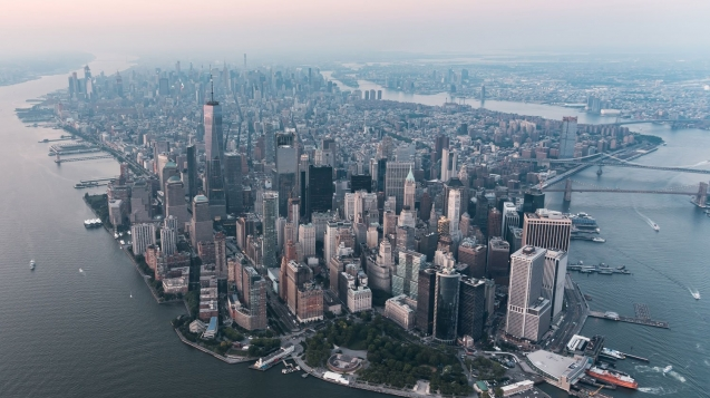 Aerial view of Manhattan NYC
