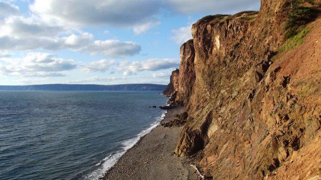 600-foot cliffs at Cape d'Or Lighthouse on Bay of Fundy, Nova Scotia