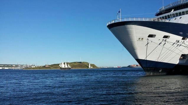 Watch ships and sailboats in Halifax Harbour, Nova Scotia