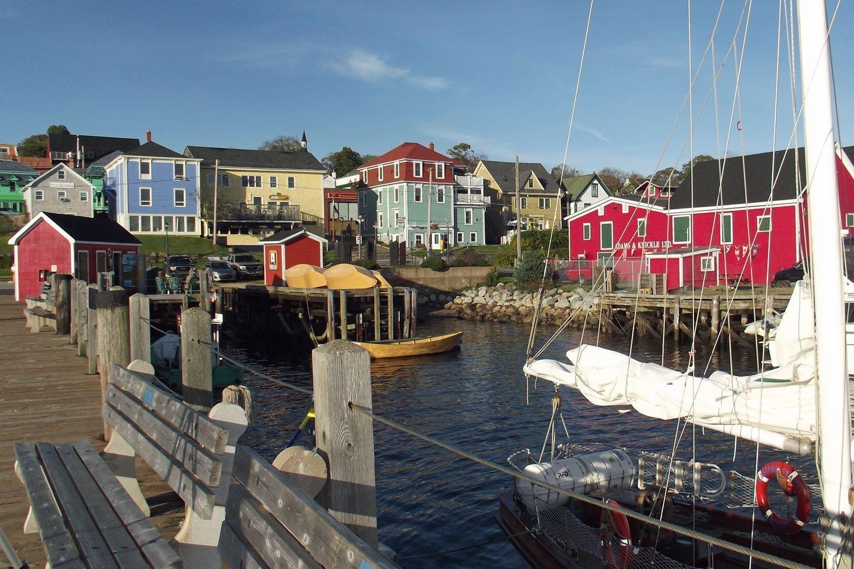 Brightly-colored buildings decorate Lunenburg's harbor, Nova Scotia