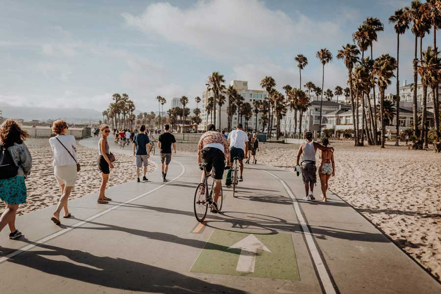 Cyclists along The Strand, Los Angeles
