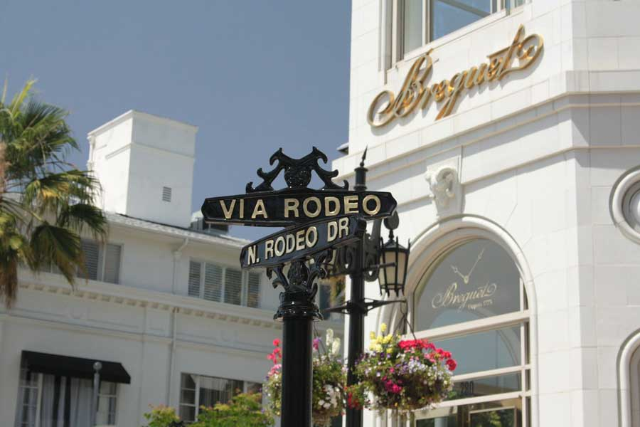 Crossroads sign of Via Rodeo and Rodeo Drive, Los Angeles