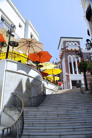 Steps and colorful umbrellas lead up to Via Rodeo on Rodeo Drive, Los Angeles