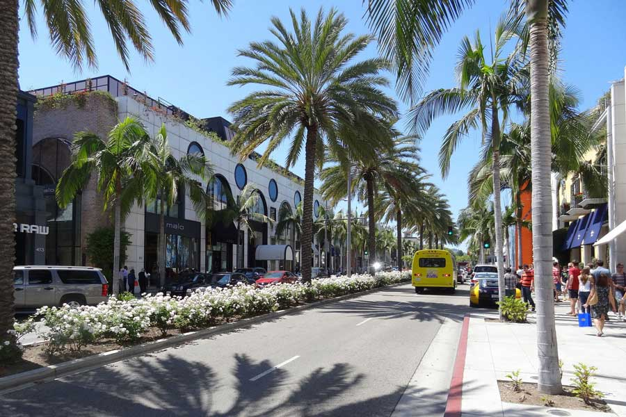 Sunshine and palm trees adorn Rodeo Drive in Los Angeles
