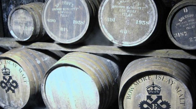 Old casks in Bowmore Distillery's vaults