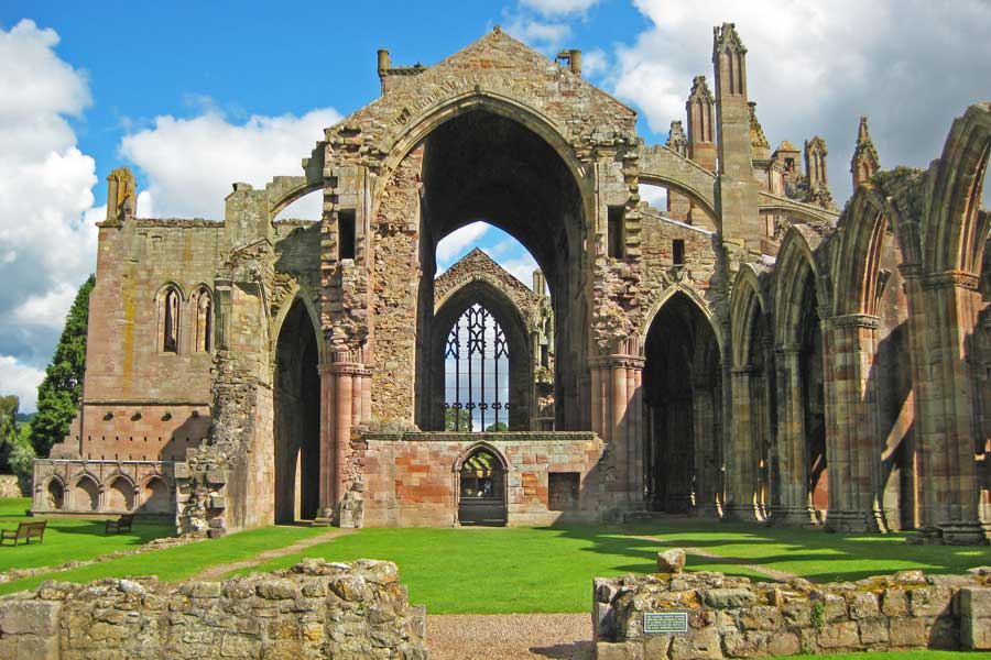 Majestic ruins of Melrose Abbey, Scotland