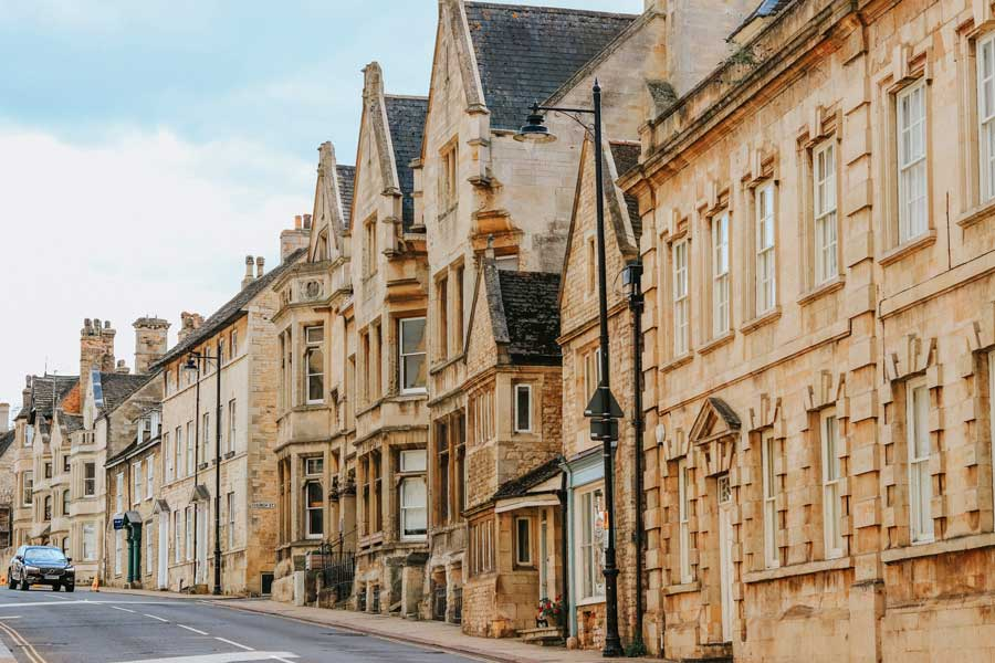 Signature limestone row houses in Stamford, England