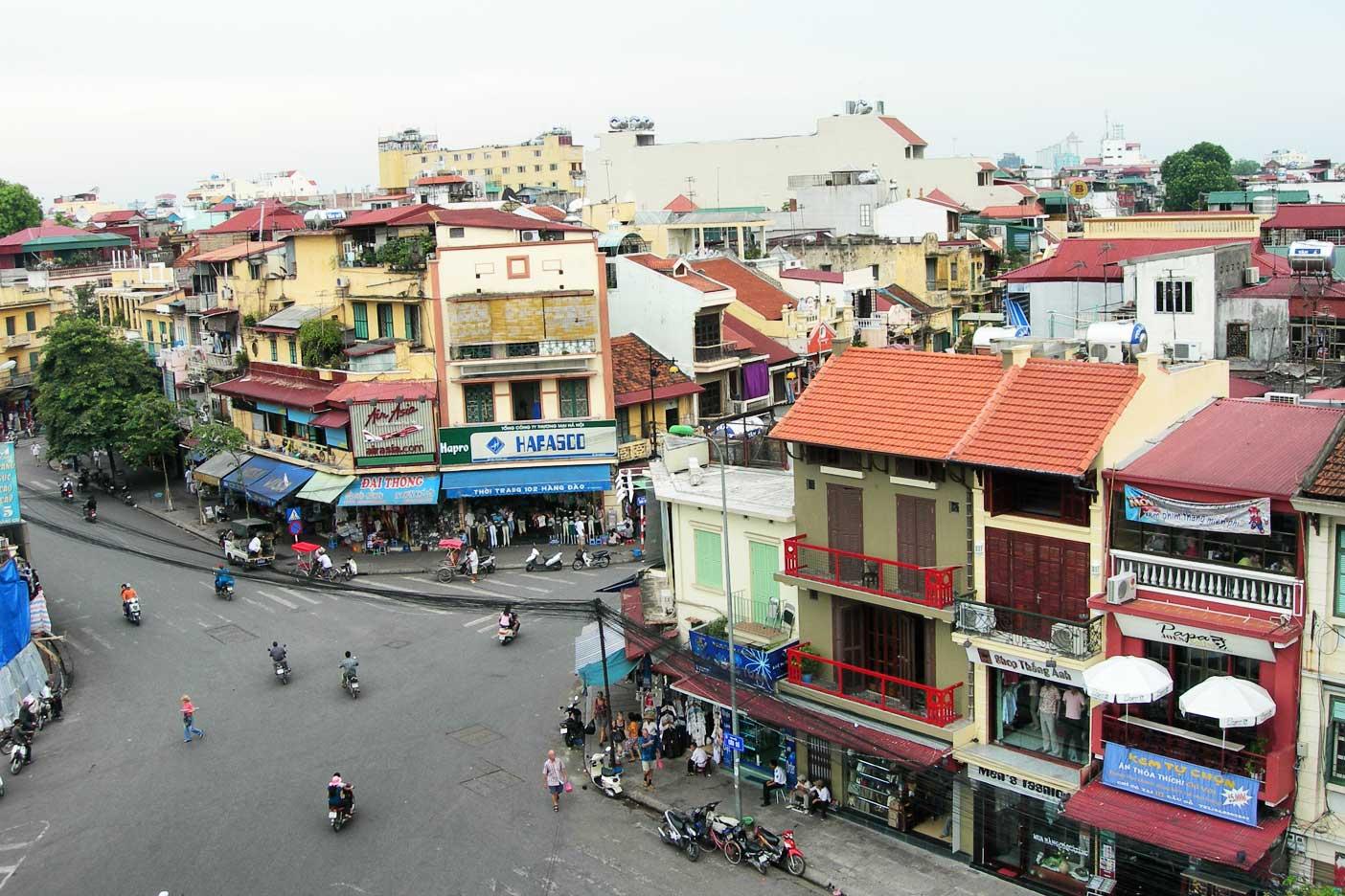 Rooftop view overlooking the shop-lined streets of Hanoi, Vietnam