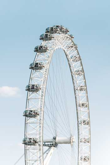 London Eye floats gracefully with a clear blue sky in the background