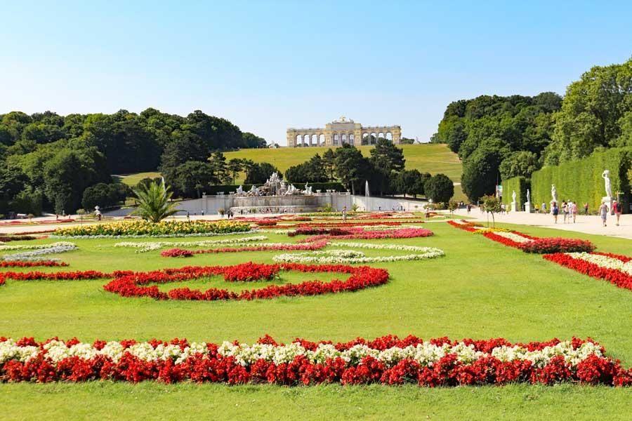 Vibrant red flowers adorn Schonbrunn Palace gardens on a beautiful summer day