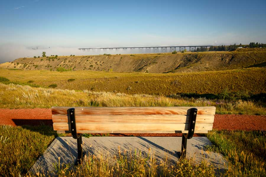 Romantic view over High Level Bridge in Lethbridge