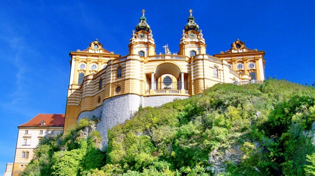 Stift Melk Abbey fortress stands majestically on a rocky plateau above