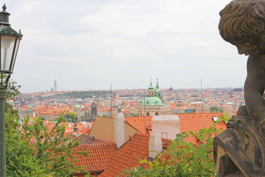 City views from Prague Castle steps