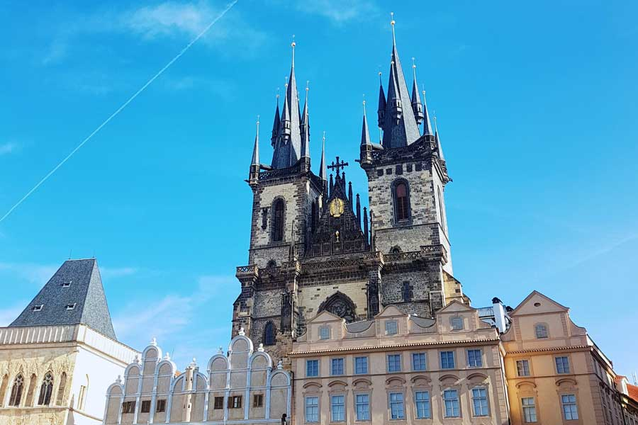Building in front of Old Town Square cathedral in Prague