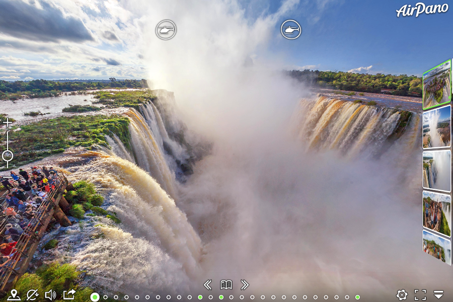 Virtual tour of Iguazu Falls that borders Brazil and Argentina