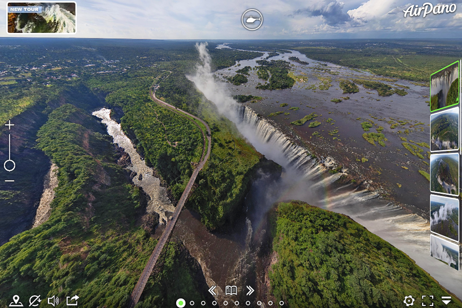 Virtual tour of Victoria Falls that borders Zambia and Zimbabwe