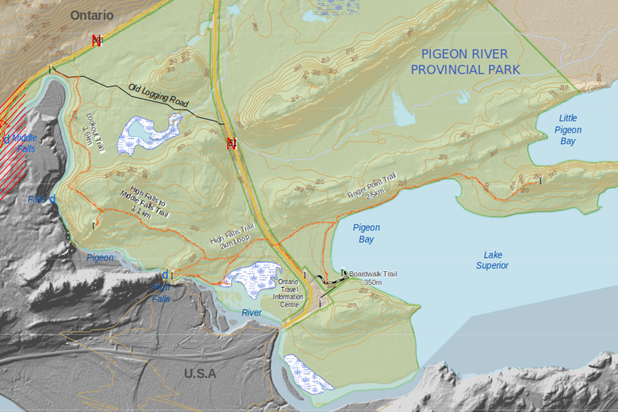 Map of Pigeon River hiking trails near Thunder Bay