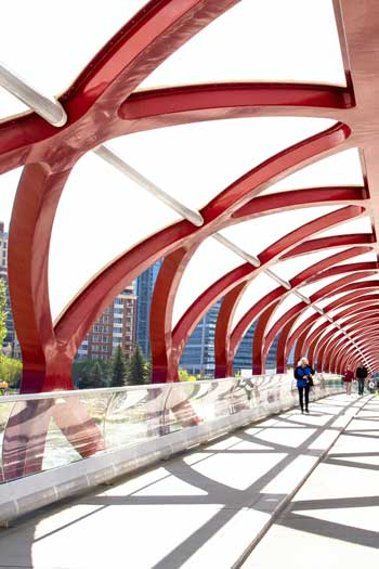 Romantic weekend in Calgary, stroll the iconic Peace Bridge over the Bow River