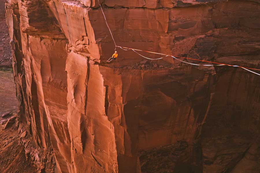 Virtual tour of canyon swing in Moab, Utah