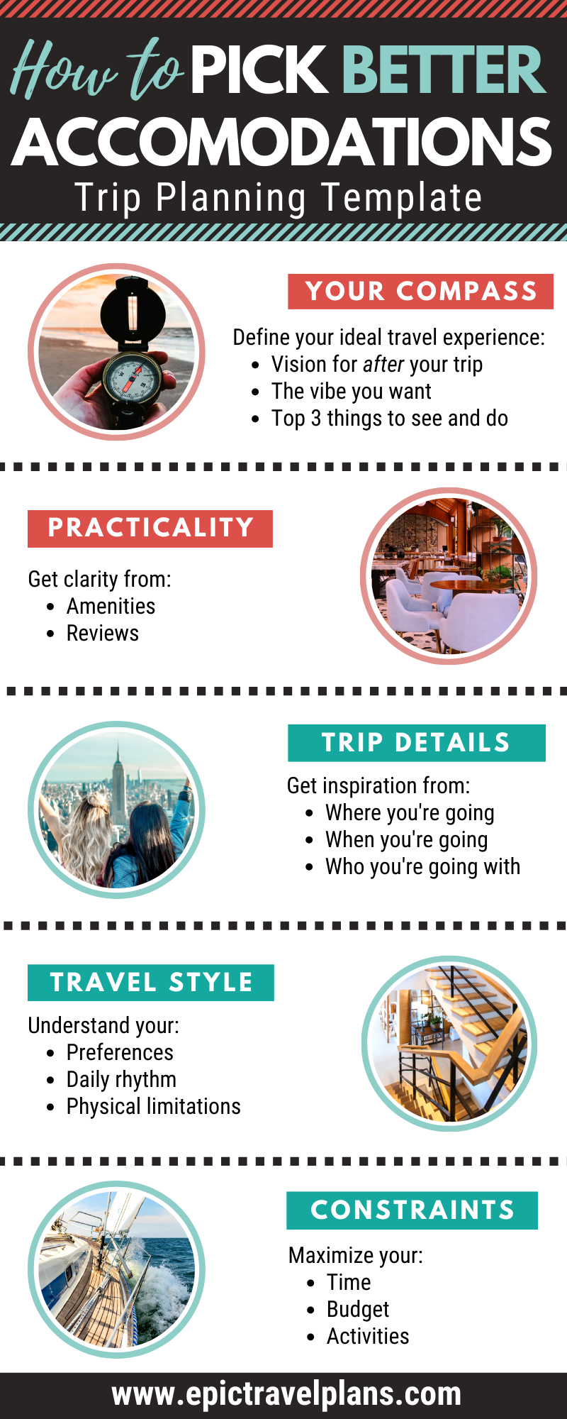 How to pick better accommodations, trip planning tips infographic