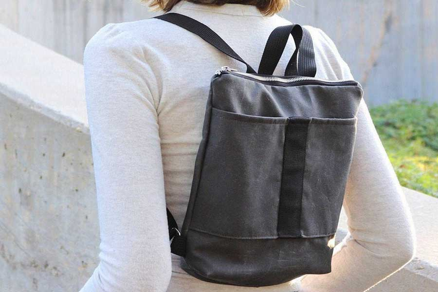 Small grey backpack, Unique travel daypacks for women, Etsy travel bags, handmade in Canada