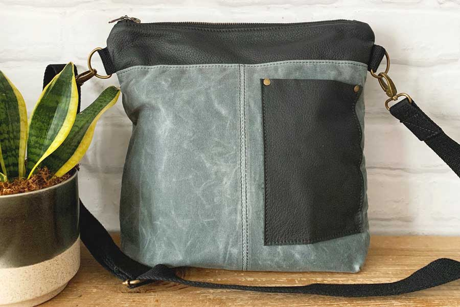 Square canvas and leather crossbody bag, Unique travel daypacks for women, Etsy travel bags, handmade in Canada