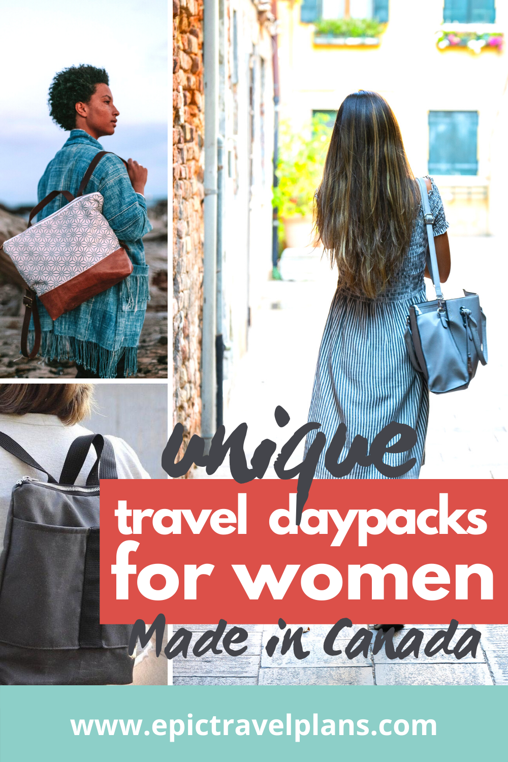 Unique travel daypacks for women, Etsy travel bags, handmade in Canada