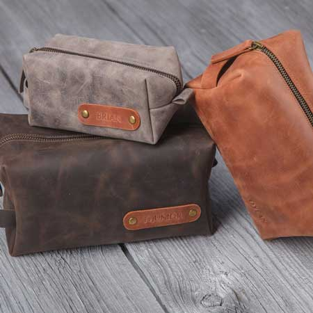 Leather toiletries bag, best business travel gifts for him
