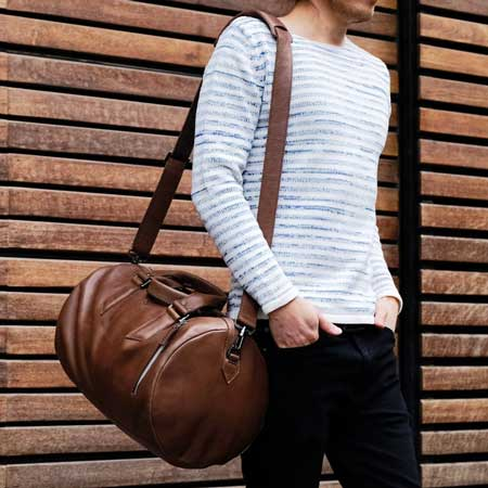 Leather travel duffel bags, business travel gift ideas for him