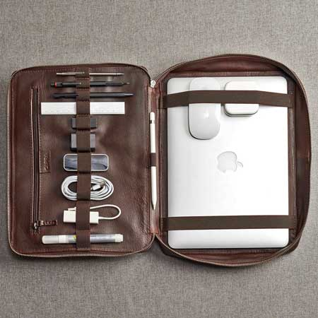 Leather laptop organizer, best gift ideas for men who travel for work