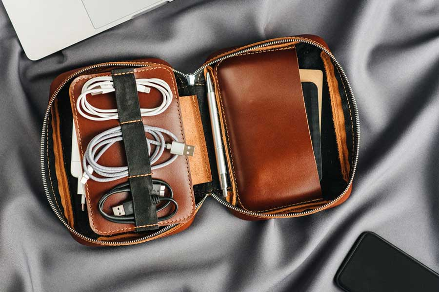 Leather electronics organizer, best gift ideas for men who travel for work