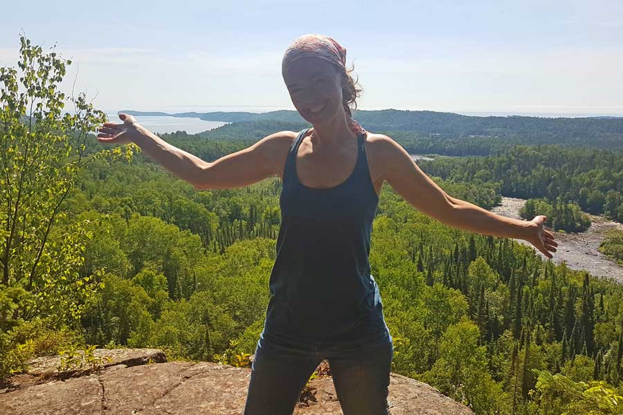 Selfie and view of Lake Superior and Pigeon River from Lookout Trail