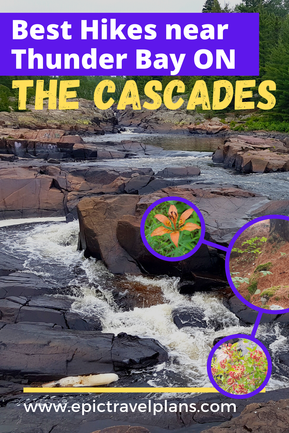 Cascades hiking trails near Thunder Bay Ontario