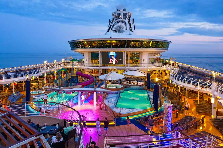 Colorful lights on cruise ship deck, Christmas vacation ideas for couples