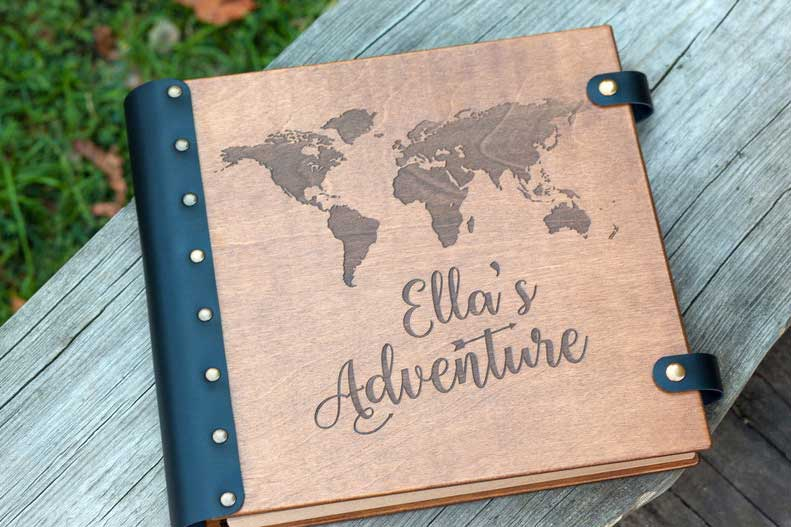 Customized photo album, Etsy woodlack, gifts for travel lovers