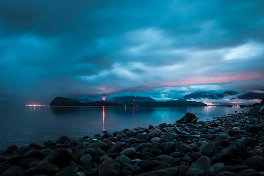 Disney cruise to Alaska, night sky over Juneau