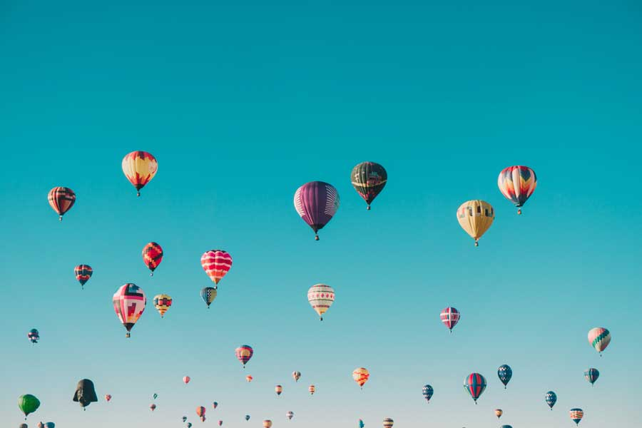 Colorful hot air balloons, experience gifts for travel lovers