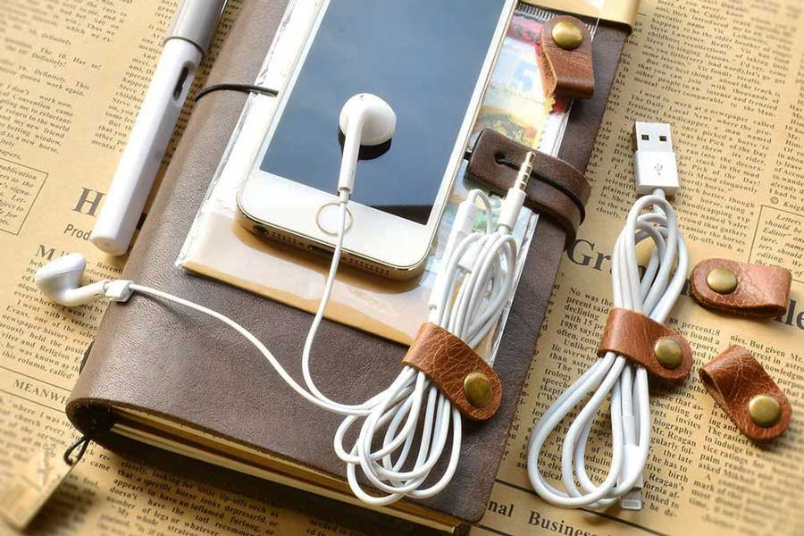 Leather cord holder, small travel gadgets, Gifts for travel lovers