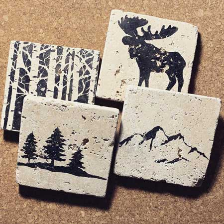 Travel-themed coasters, gifts for travel lovers, Etsy KabramKrafts