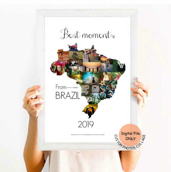 Custom photo collage map, gifts for travel lovers, Etsy PrettyArtDesign