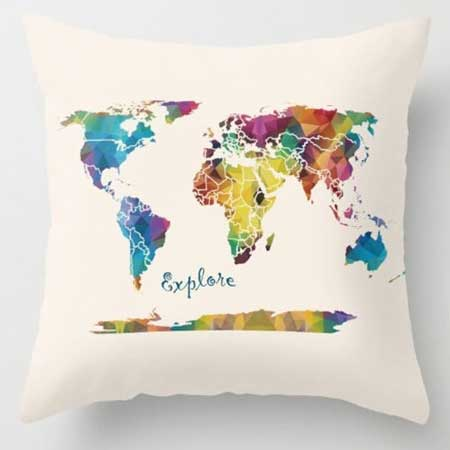 Travel-themed throw pillows, gifts for travel lovers, Etsy CatherineOriginals