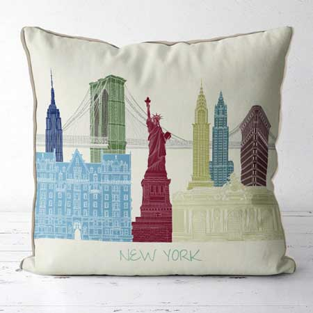 Travel-themed throw pillows, gifts for travel lovers, Etsy FabFunkyPillows