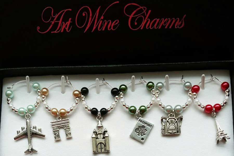 Travel-themed wine charms, gifts for travel lovers, Etsy PickinsGalore