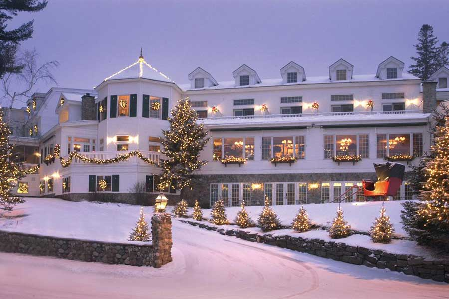 Mirror Lake Inn Resort Spa, Lake Placid, cozy Christmas vacation ideas for couples in USA